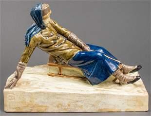 Ceramic Sculpture of 19th c. Woman Sledding