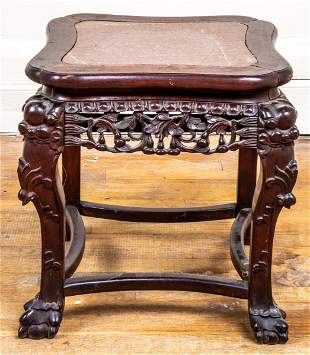 Chinese Carved Hardwood And Marble Table