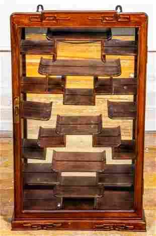 Chinese Carved Hardwood Hanging Display Cabinet