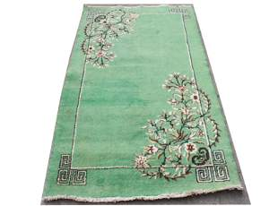 "Chinese Art Deco Green Wool Carpet  3' 9"" x 6' 8"""
