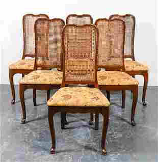 Queen Anne Style Side Dining Chairs, Set of 6