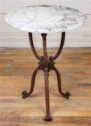 Cast Iron And Marble Bistro Table