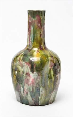Burmantofts Pottery Dimpled Polychrome Vase