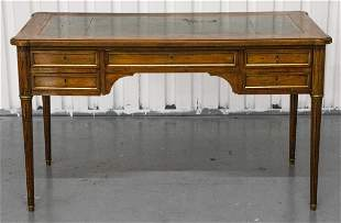 Louis XVI Style Walnut Bureau Plat Desk