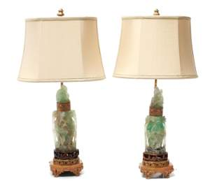 Chinese Carved Fluorite Green Quartz Lamps Pr