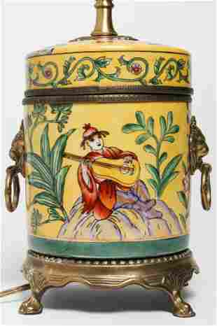 Chinoiserie Table Lamp w Musician Motif