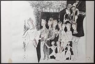 Raymond Dauphin Modern Figural Ink Drawing
