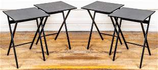 Black Lacquered Folding Tables, Set of 4