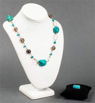 Silver Turquoise & Smoky Quartz Necklace & Ring 2