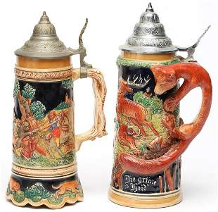 2 German Decorative Beer Steins, 1 a Music Box
