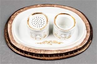 Ceramic Ink Well with Gilt Details, Vintage