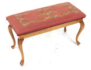 Rococo Style Needlepoint Upholstered Piano Bench