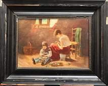 Continental School Genre Scene Oil on Panel
