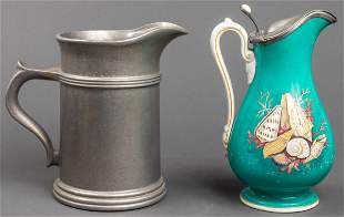 Pewter and Porcelain & Silver Plate Pitchers, 2