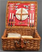 English Abercrombie & Fitch Picnic Basket, Vintage