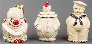 Ceramic Cookie Jars Incl. McCoy Clown, 3 Pcs