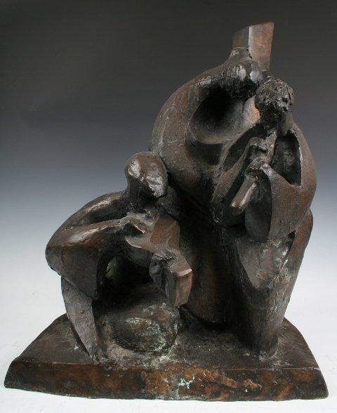 Israeli Bronze Sculpture of 3 Musicians 20th C.