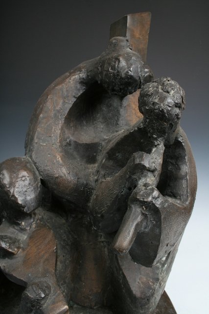 Israeli Bronze Sculpture of 3 Musicians 20th C. - 4