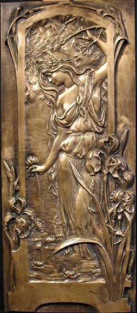 French Nouveau Bronze Plaque Female Figure