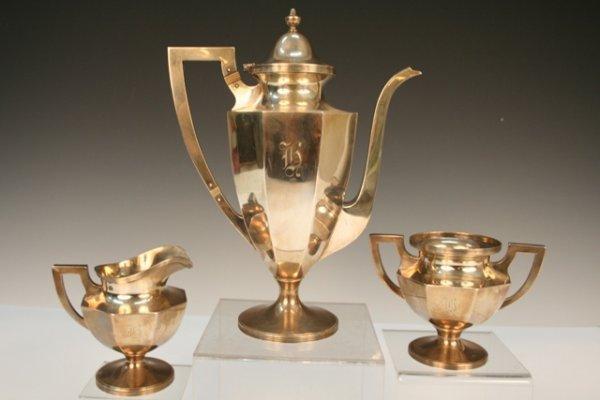 3-Piece Art Deco Sterling Silver Tea Set ca. 1940s