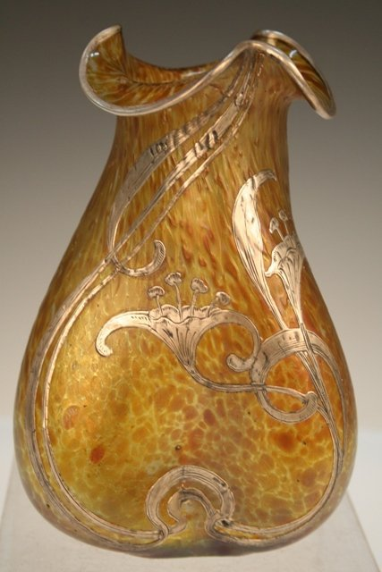 Loetz Nouveau Vase with Silver Overlay