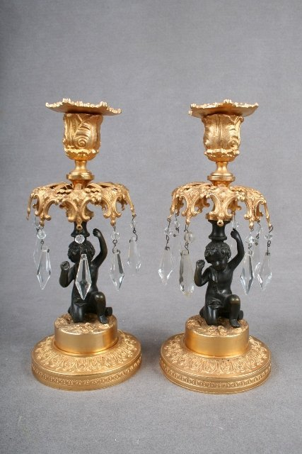 Pair of Bronze and Gilded Candlesticks ca. 1850