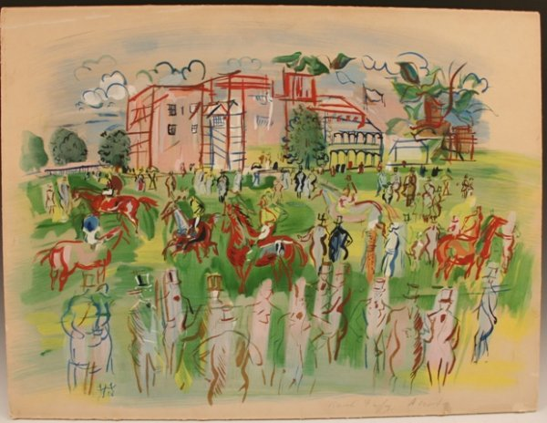 Ascot Hand-Colored Lithograph  by Dufy 1950