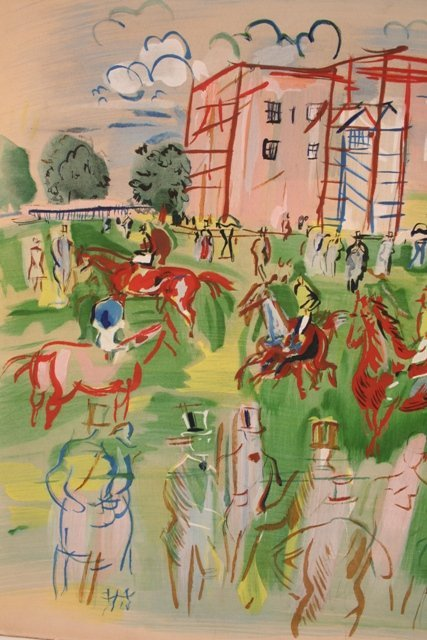 Ascot Hand-Colored Lithograph  by Dufy 1950  - 2