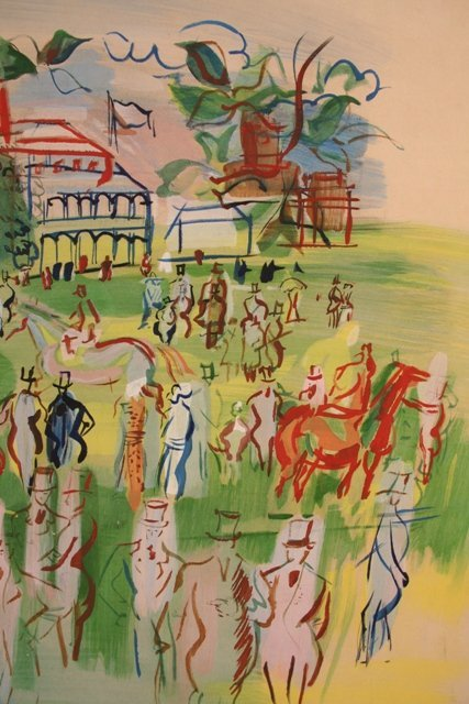 Ascot Hand-Colored Lithograph  by Dufy 1950  - 3