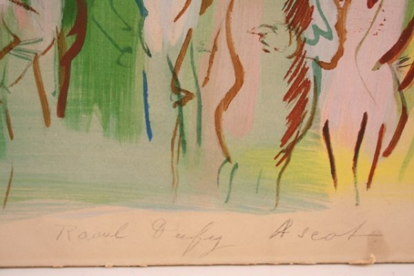 Ascot Hand-Colored Lithograph  by Dufy 1950  - 5