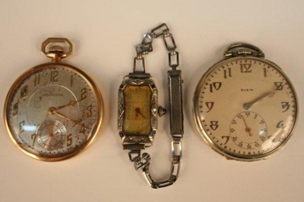 2 Antique Pocket Watches & 1 Ladies' Wristwatch
