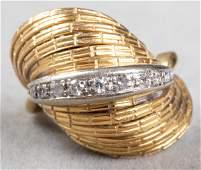 Vintage 18K Yellow  White Gold Diamond Ring
