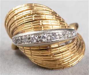 Vintage 18K Yellow & White Gold Diamond Ring