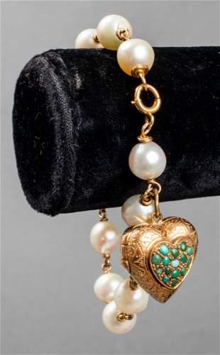 18K Gold Turquoise Heart Locket Pearl Bracelet