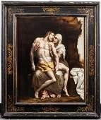 """Bernardino Gatti, Il Sojaro """"Pieta"""" Oil on Canvas"""