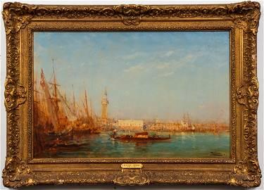 Felix Ziem Venetian Canal Scene Oil on Panel