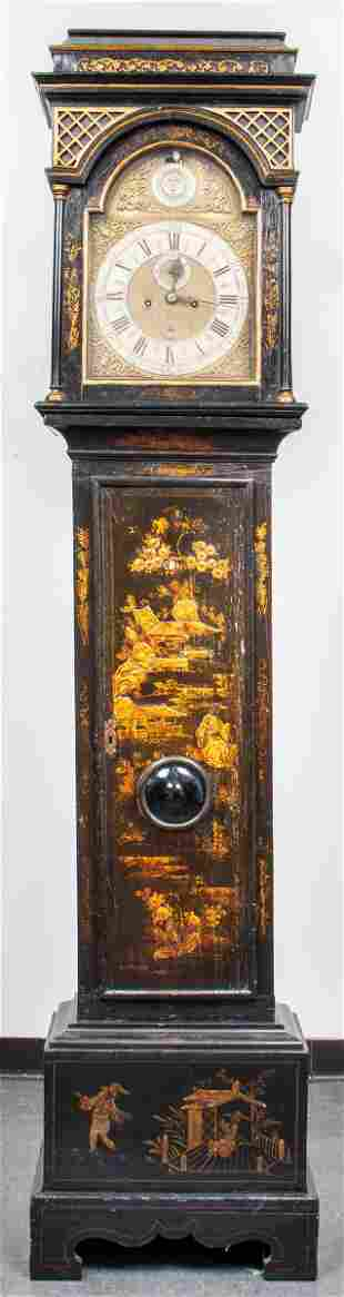 English Queen Anne Japanned Tall Case Clock