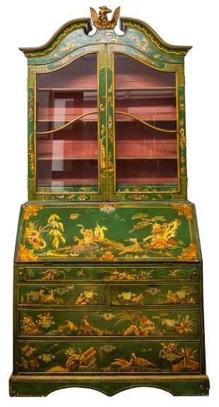 Venetian Rococo Style Green Chinoiserie Secretary
