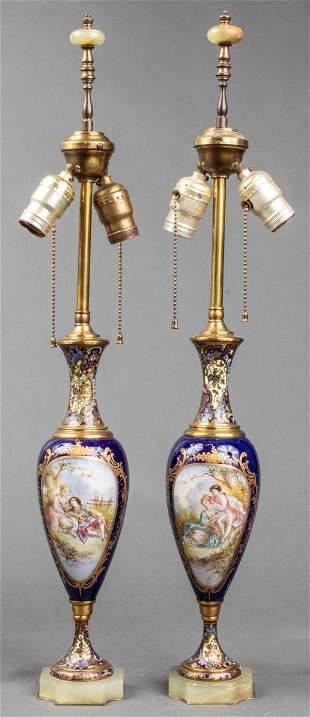 Sèvres Style Porcelain Champlevé & Onyx Lamps, Pr