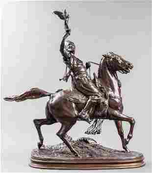 "P. J. Mene ""The Arab Falconer"" Bronze Sculpture"