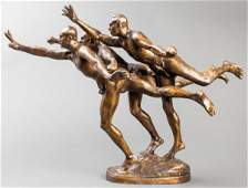 """After Alfred Boucher """"Au But"""" Bronze Figural Group"""