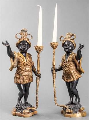 Bronze Figural Blackamoor Candlesticks, Pair