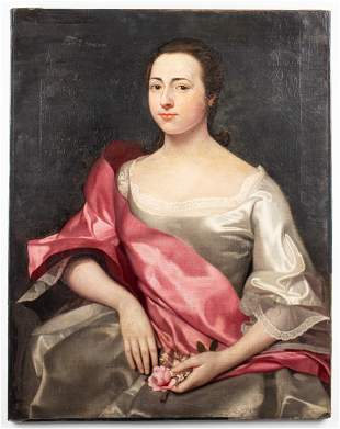 Continental School Portrait of Woman Oil on Canvas