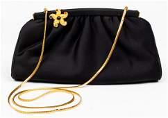 Judith Leiber Black Satin Handbag