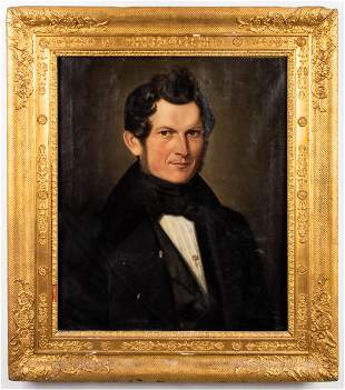 American School Portrait of a Gentleman, 19th C.