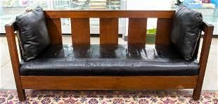 L & JG Stickley Mission Oak & Black Leather Sofa