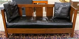 Stickley Oak And Black Leather Sofa