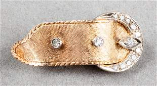 Vintage 14K White  Yellow Gold Diamond Buckle Pin
