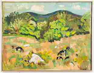 "Bena Mayer Frank ""Cow's Land"" Oil on Canvas"