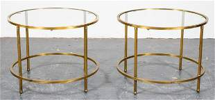 Modern Brass & Glass Round End Tables, Pair